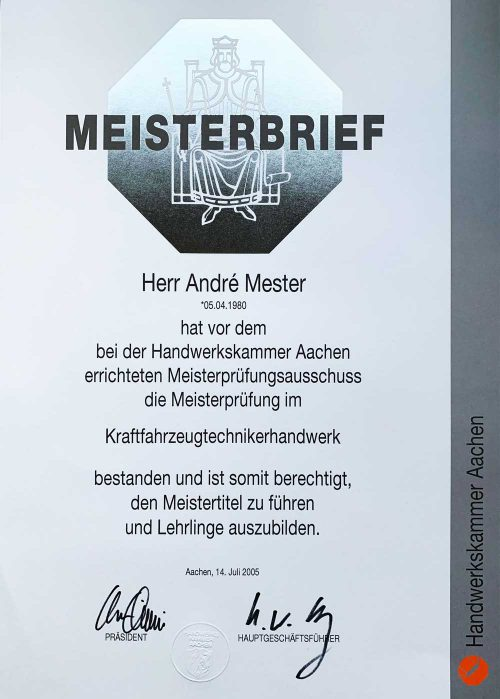 Meisterbrief AM